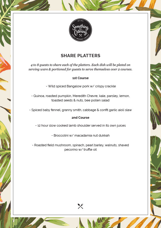 Share Platters Menu