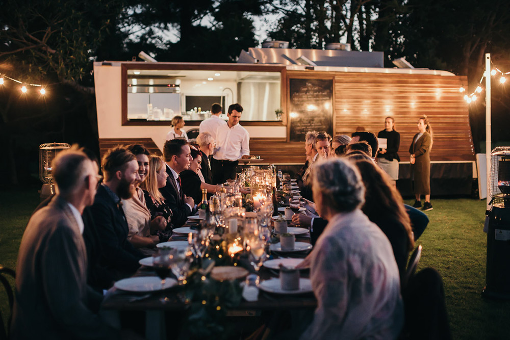 Outdoor party with Something for Catering's food van