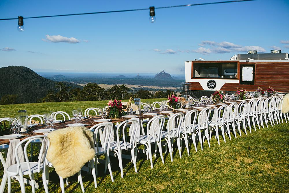 Outdoor wedding catering van